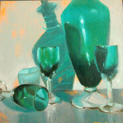 fragile! glass!, 8 x 8 inch, usha p,still life paintings,paintings for office,canvas board,oil,8x8inch,GAL014123866