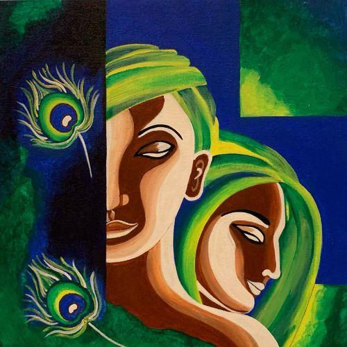 sign of calmness, 12 x 12 inch, shreya khandelwal,12x12inch,canvas,paintings,abstract paintings,figurative paintings,modern art paintings,multi piece paintings,conceptual paintings,illustration paintings,radha krishna paintings,paintings for dining room,paintings for living room,paintings for bedroom,paintings for office,acrylic color,GAL02716438660