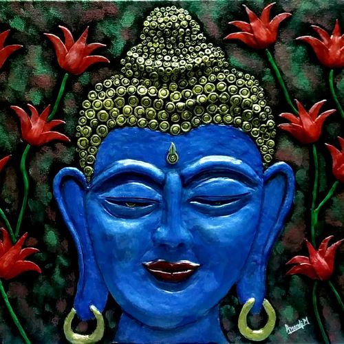 budha clay painting, 16 x 12 inch, anandi m,16x12inch,canvas,paintings,buddha paintings,paintings for living room,paintings for office,paintings for hotel,paintings for school,paintings for hospital,acrylic color,GAL0307738684