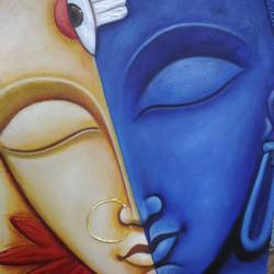 arthanarishwar, 16 x 21 inch, anandi m,16x21inch,canvas,paintings,lord shiva paintings,paintings for living room,paintings for office,paintings for kids room,paintings for hotel,paintings for school,paintings for hospital,acrylic color,GAL0307738685