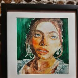 off gaurd, 17 x 19 inch, lavanya pant ,17x19inch,oil sheet,paintings,portrait paintings,portraiture,realistic paintings,watercolor,GAL02721238689