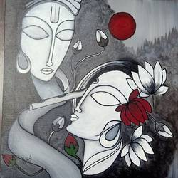 eternal love, 20 x 20 inch, harini jagadish,20x20inch,canvas,paintings,abstract paintings,modern art paintings,conceptual paintings,religious paintings,abstract expressionism paintings,impressionist paintings,radha krishna paintings,paintings for dining room,paintings for living room,paintings for bedroom,paintings for office,paintings for hotel,paintings for kitchen,paintings for hospital,acrylic color,GAL02718138698