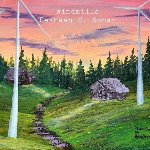 windmills, 16 x 12 inch, eeshaan sonar,16x12inch,canvas,landscape paintings,paintings for living room,paintings for office,paintings for hotel,paintings for school,paintings for living room,paintings for office,paintings for hotel,paintings for school,acrylic color,GAL02722838706