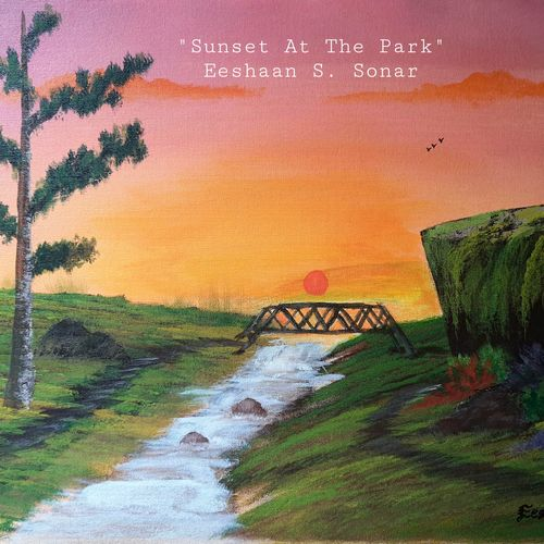 sunset at the park, 20 x 16 inch, eeshaan sonar,20x16inch,canvas board,landscape paintings,paintings for dining room,paintings for living room,paintings for office,paintings for hotel,paintings for school,paintings for dining room,paintings for living room,paintings for office,paintings for hotel,paintings for school,acrylic color,GAL02722838707