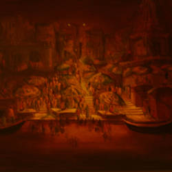 benaras fantasy, 42 x 36 inch, jeeva  reddy,paintings for living room,landscape paintings,canvas,acrylic color,42x36inch,GAL014163871