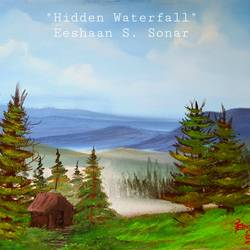 hidden waterfall, 24 x 18 inch, eeshaan sonar,24x18inch,canvas,paintings,landscape paintings,paintings for dining room,paintings for living room,paintings for bedroom,paintings for office,paintings for hotel,paintings for school,acrylic color,GAL02722838711