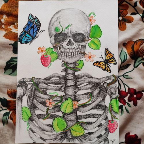 flowers and bones, 8 x 12 inch, devi dinesh,8x12inch,brustro watercolor paper,paintings,abstract paintings,figurative paintings,flower paintings,modern art paintings,conceptual paintings,portrait paintings,abstract expressionism paintings,art deco paintings,illustration paintings,pop art paintings,street art,paintings for living room,paintings for bedroom,paintings for office,paintings for hotel,acrylic color,charcoal,ink color,pen color,photo ink,watercolor,graphite pencil,paper,GAL02655138714