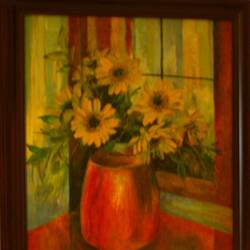 my flowers 13, 14 x 18 inch, jeeva  reddy,flower paintings,paintings for bedroom,canvas,oil paint,14x18inch,GAL014163872