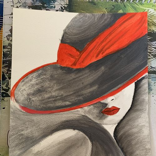 a red hat girl, 8 x 12 inch, dibya bhaumik,8x12inch,brustro watercolor paper,paintings,modern art paintings,portrait paintings,paintings for living room,paintings for bedroom,paintings for living room,watercolor,GAL02726538737