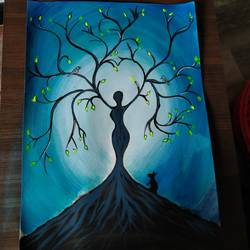 honour that tree gives shelter to all those small creatures., 12 x 16 inch, dibya bhaumik,12x16inch,thick paper,paintings,modern art paintings,paintings for living room,paintings for bedroom,acrylic color,GAL02726538738