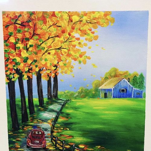 countryside, fall season & vintage car, 12 x 12 inch, janhvi srivastava,12x12inch,canvas,paintings,flower paintings,landscape paintings,nature paintings | scenery paintings,art deco paintings,realistic paintings,paintings for dining room,paintings for living room,paintings for bedroom,paintings for office,paintings for bathroom,paintings for kids room,paintings for hotel,paintings for kitchen,paintings for school,paintings for hospital,acrylic color,GAL02483838741