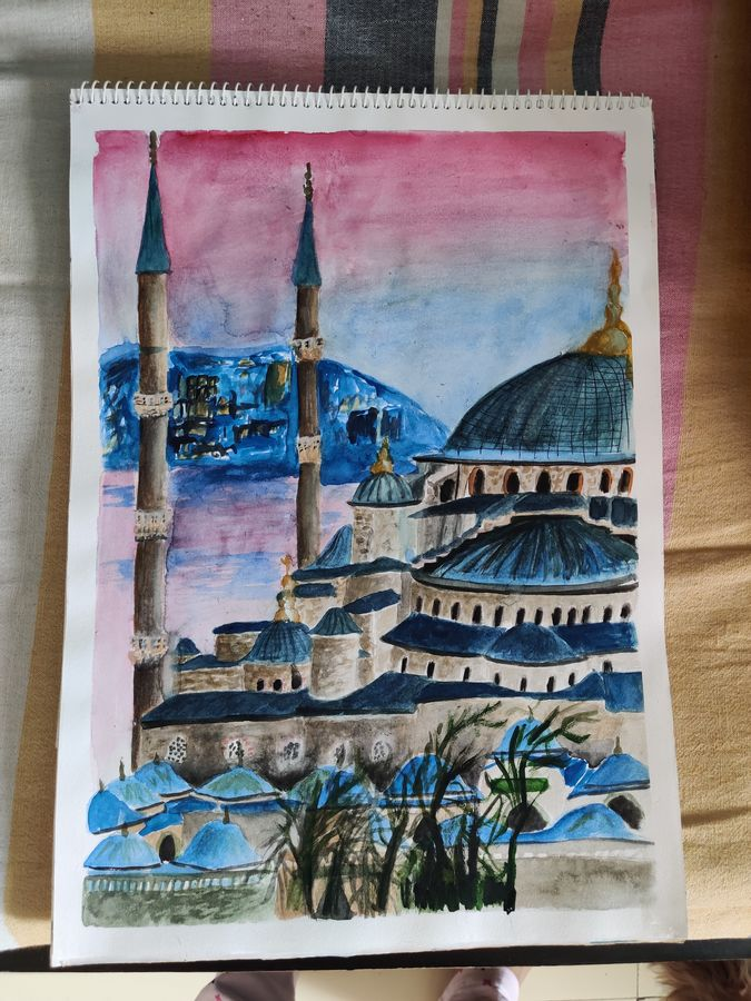 blue mosque, 12 x 17 inch, samiya parvez,12x17inch,cartridge paper,cityscape paintings,landscape paintings,religious paintings,nature paintings   scenery paintings,illustration paintings,paintings for dining room,paintings for living room,paintings for office,paintings for hotel,paintings for dining room,paintings for living room,paintings for office,paintings for hotel,watercolor,GAL02728338747