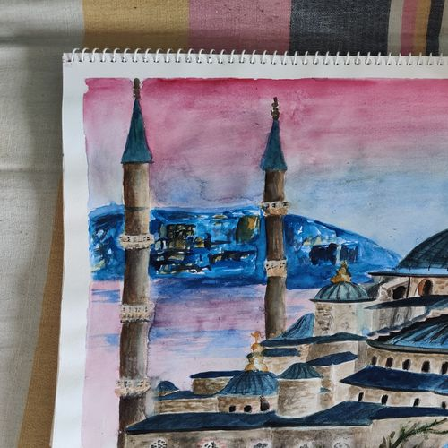 blue mosque, 12 x 17 inch, samiya parvez,12x17inch,cartridge paper,cityscape paintings,landscape paintings,religious paintings,nature paintings | scenery paintings,illustration paintings,paintings for dining room,paintings for living room,paintings for office,paintings for hotel,paintings for dining room,paintings for living room,paintings for office,paintings for hotel,watercolor,GAL02728338747