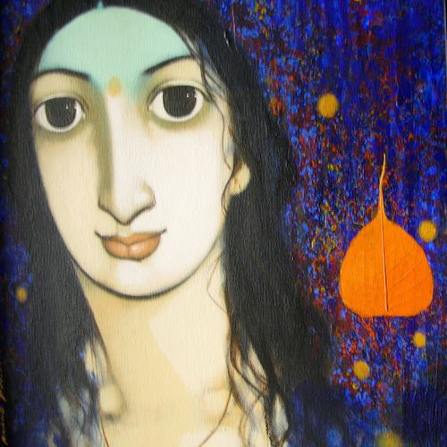 untitled, 16 x 14 inch, jeeva  reddy,figurative paintings,paintings for living room,canvas,mixed media,16x14inch,GAL014163875