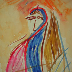 bride (bodhu), 12 x 7 inch, dipankar lahiri,12x7inch,thick paper,abstract paintings,watercolor,GAL02288338753