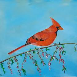 cardinal bird on tree branch , 30 x 23 inch, srinu badri,30x23inch,canvas,paintings,wildlife paintings,flower paintings,nature paintings | scenery paintings,realistic paintings,paintings for dining room,paintings for living room,paintings for bedroom,paintings for office,paintings for kids room,paintings for school,acrylic color,GAL01289938759