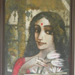 my beautiful beloved, 24 x 20 inch, jeeva  reddy,figurative paintings,paintings for living room,canvas,acrylic color,24x20inch,GAL014163876