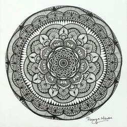 black and white floral mandala, 7 x 7 inch, ramya menon,7x7inch,thick paper,drawings,abstract drawings,art deco drawings,conceptual drawings,minimalist drawings,modern drawings,paintings for dining room,paintings for living room,paintings for bedroom,paintings for office,paintings for kids room,paintings for kitchen,paintings for school,pen color,GAL02622838763