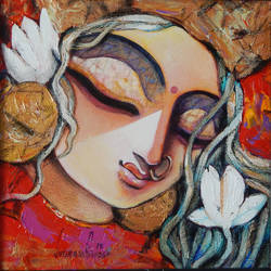 radhe ..., 12 x 12 inch, rupak  chakraborty,12x12inch,canvas,paintings,religious paintings,paintings for dining room,paintings for living room,paintings for bedroom,paintings for office,acrylic color,GAL02596838766