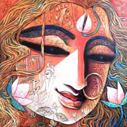 mahamaya  , 30 x 30 inch, rupak  chakraborty,30x30inch,canvas,paintings,abstract paintings,religious paintings,paintings for dining room,paintings for living room,paintings for bedroom,paintings for office,acrylic color,GAL02596838767