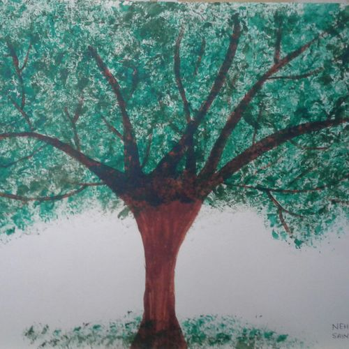 tree made by bubble wrap, 11 x 17 inch, neha saini,11x17inch,drawing paper,drawings,abstract drawings,paintings for dining room,paintings for living room,paintings for bedroom,paintings for office,paintings for kids room,paintings for school,paintings for hospital,acrylic color,GAL02682538769