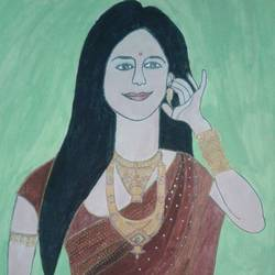 the bride, 11 x 17 inch, neha saini,11x17inch,drawing paper,drawings,fine art drawings,paintings for dining room,paintings for bedroom,paintings for office,paintings for hotel,acrylic color,pen color,GAL02682538776