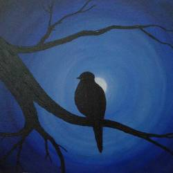 bird in moonlight, 24 x 14 inch, gaytri gupta,nature paintings,paintings for living room,canvas,acrylic color,24x14inch,GAL014183878Nature,environment,Beauty,scenery,greenery