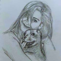 love for dogs, 8 x 8 inch, sunil gv,8x8inch,thick paper,drawings,expressionism drawings,illustration drawings,portrait drawings,realism drawings,paintings for dining room,paintings for living room,paintings for bedroom,paintings for kids room,paintings for school,paper,GAL02731438787