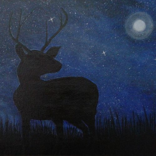 deer in the forest in moonlight, 24 x 14 inch, gaytri gupta,paintings for living room,animal paintings,canvas,acrylic color,24x14inch,GAL014183879