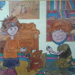 playing kids, 8 x 12 inch, neha saini,8x12inch,drawing paper,drawings,photorealism drawings,paintings for office,paintings for kids room,paintings for school,acrylic color,pen color,GAL02682538797