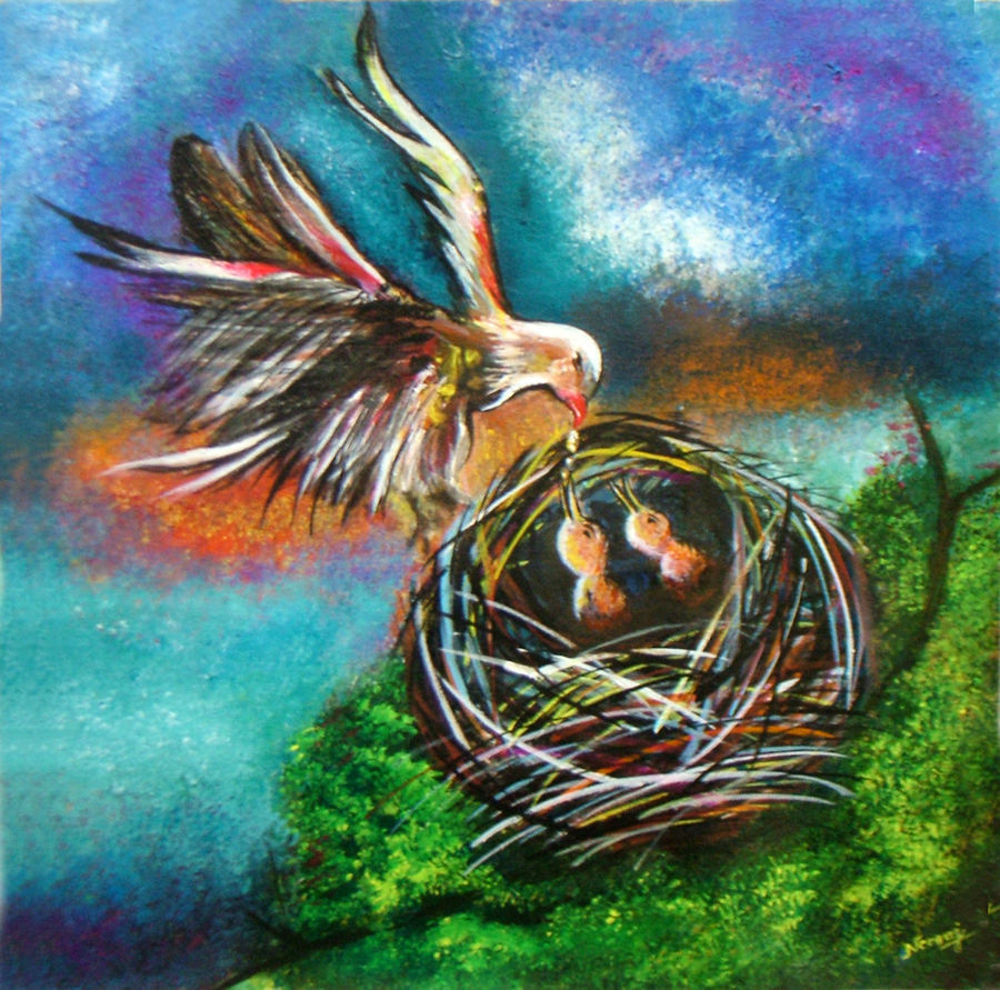 precious moments - original acrylic, 15 x 15 inch, neeraj parswal,wildlife paintings,paintings for dining room,vertical,canvas,acrylic color,15x15inch,GAL093880
