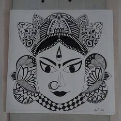 devi , 11 x 11 inch, neha kulkarni,11x11inch,drawing paper,drawings,art deco drawings,folk drawings,paintings for living room,paintings for office,paintings for hotel,paintings for school,paintings for hospital,pen color,ball point pen,paper,GAL02734438813
