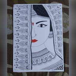bride, 15 x 11 inch, neha kulkarni,15x11inch,drawing paper,drawings,abstract drawings,abstract expressionism drawings,art deco drawings,fine art drawings,folk drawings,paintings for living room,paintings for bedroom,paintings for hotel,pen color,ball point pen,paper,GAL02734438815