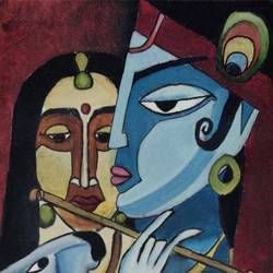 radha krishna, 10 x 14 inch, kajol shelke,10x14inch,canvas,paintings,figurative paintings,religious paintings,radha krishna paintings,paintings for dining room,paintings for living room,paintings for bedroom,paintings for office,paintings for kids room,paintings for hotel,paintings for school,oil color,GAL02703038818