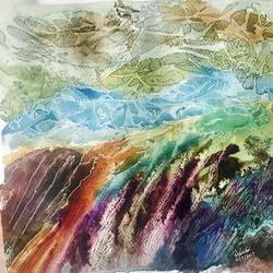 riot of ethereal hues, 12 x 12 inch, manav verma,landscape paintings,paintings for living room,thick paper,mixed media,12x12inch,GAL013763882