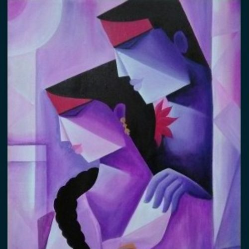 telangana couple-1, 24 x 30 inch, sanjay moosaramthota,24x30inch,canvas,paintings,abstract paintings,figurative paintings,conceptual paintings,contemporary paintings,paintings for living room,paintings for bedroom,paintings for office,paintings for hotel,paintings for hospital,acrylic color,GAL02723338827