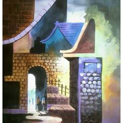 morning light, 22 x 30 inch, samir deshmukh,cityscape paintings,paintings for living room,paper,acrylic color,22x30inch,GAL02523883