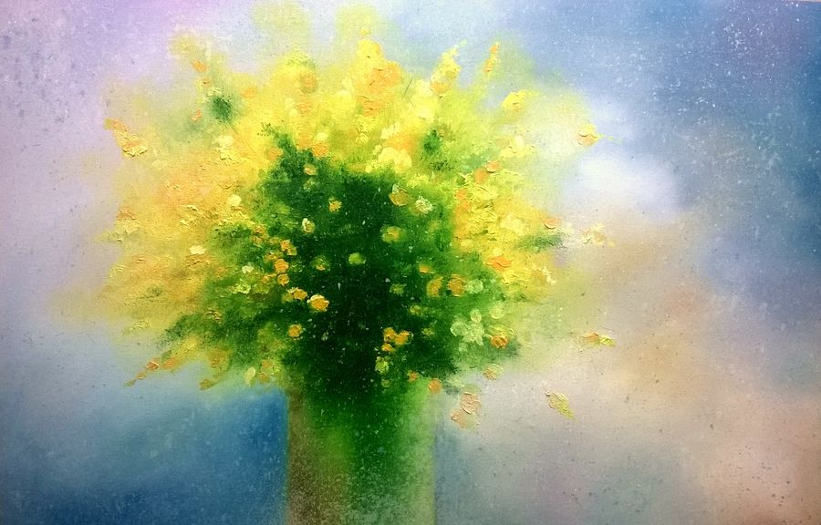 flower vase, 36 x 24 inch, bhanupratap khare,flower paintings,paintings for living room,canvas,oil,36x24inch,GAL012963884
