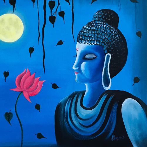 sree buddha-eternal flow of energy., 28 x 19 inch, binu  m,28x19inch,canvas,paintings,abstract paintings,acrylic color,GAL02665638842