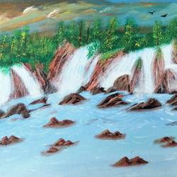 waterfall painting with acrylics on 12x16inches canvas board, 12 x 16 inch, veena arts,12x16inch,canvas,paintings,landscape paintings,multi piece paintings,still life paintings,nature paintings   scenery paintings,art deco paintings,water fountain paintings,paintings for dining room,paintings for living room,paintings for bedroom,paintings for office,paintings for bathroom,paintings for kids room,paintings for school,acrylic color,GAL02687038848