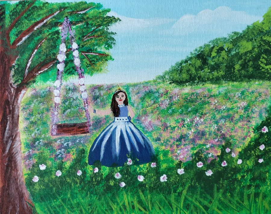 girl in a garden painting with acrylics on 8x10inches canvas board, 8 x 10 inch, veena arts,8x10inch,canvas board,paintings,flower paintings,landscape paintings,multi piece paintings,nature paintings   scenery paintings,art deco paintings,paintings for dining room,paintings for living room,paintings for bedroom,paintings for office,paintings for kids room,paintings for hotel,paintings for kitchen,paintings for school,acrylic color,GAL02687038849