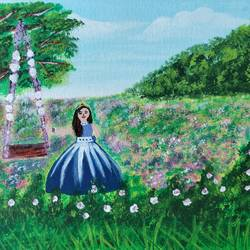 girl in a garden painting with acrylics on 8x10inches canvas board, 8 x 10 inch, veena arts,8x10inch,canvas board,paintings,flower paintings,landscape paintings,multi piece paintings,nature paintings | scenery paintings,art deco paintings,paintings for dining room,paintings for living room,paintings for bedroom,paintings for office,paintings for kids room,paintings for hotel,paintings for kitchen,paintings for school,acrylic color,GAL02687038849