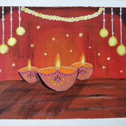 indian traditional diya along hanging lights painting, 8 x 10 inch, veena arts,8x10inch,canvas board,paintings,landscape paintings,art deco paintings,realism paintings,paintings for dining room,paintings for living room,paintings for bedroom,paintings for office,paintings for kids room,paintings for hotel,paintings for kitchen,paintings for school,paintings for hospital,acrylic color,GAL02687038850