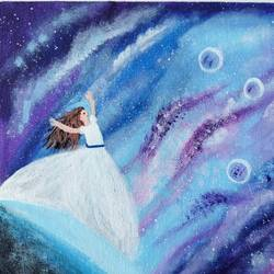 girl near galaxy painting, 8 x 10 inch, veena arts,8x10inch,canvas board,paintings,modern art paintings,nature paintings | scenery paintings,art deco paintings,illustration paintings,paintings for dining room,paintings for living room,paintings for bedroom,paintings for office,paintings for kids room,paintings for hotel,paintings for kitchen,paintings for school,acrylic color,GAL02687038852