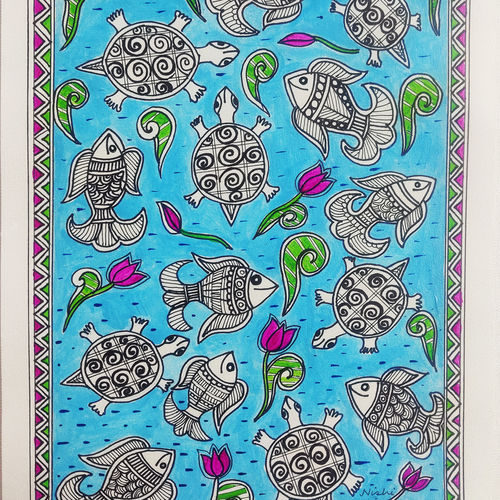 """madhubani painting """"the fish and the turtles """", 8 x 12 inch, nishi saxena,8x12inch,drawing paper,paintings,folk art paintings,madhubani paintings 