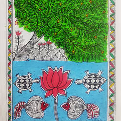 "madhubani painting ""the fish, lotus and the turtles "", 8 x 12 inch, nishi saxena,8x12inch,drawing paper,paintings,folk art paintings,madhubani paintings 