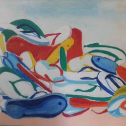good foot ware is good body care, 8 x 13 inch, popo singh,abstract paintings,paintings for dining room,canvas,watercolor,8x13inch,GAL013293886