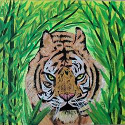 tiger in bushes painting, 8 x 10 inch, veena nandavaram,8x10inch,canvas board,paintings,still life paintings,nature paintings | scenery paintings,art deco paintings,animal paintings,paintings for dining room,paintings for living room,paintings for bedroom,paintings for office,paintings for kids room,paintings for hotel,paintings for kitchen,paintings for school,acrylic color,GAL02687038861