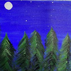 starry night in the forest, 17 x 12 inch, jyoti sharma,17x12inch,canvas,paintings,nature paintings | scenery paintings,acrylic color,GAL02638238865