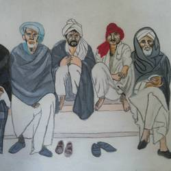 we are 5 in one faith and religion,social harmony is only the aim, 14 x 8 inch, popo singh,abstract paintings,paintings for dining room,canvas,watercolor,14x8inch,GAL013293887